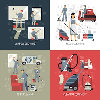 Elementos e caracteres planos de limpeza industrial