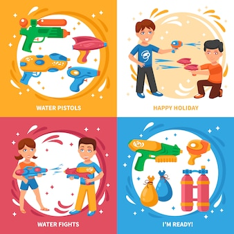 Elementos e crianças de pistolas de água