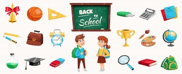 Elementos e crianças de volta à escola