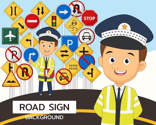 Elementos e ilustração de sinalização rodoviária
