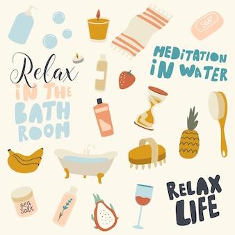 Elementos e letras de relaxamento do banheiro