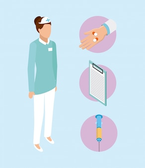 Elementos e mulher de saúde médica