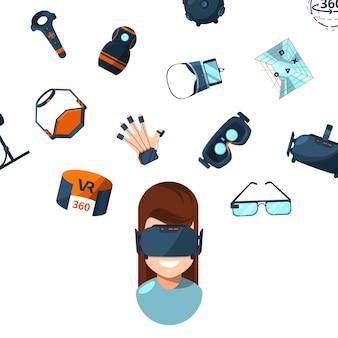 Elementos e mulher pessoa em óculos de realidade virtual