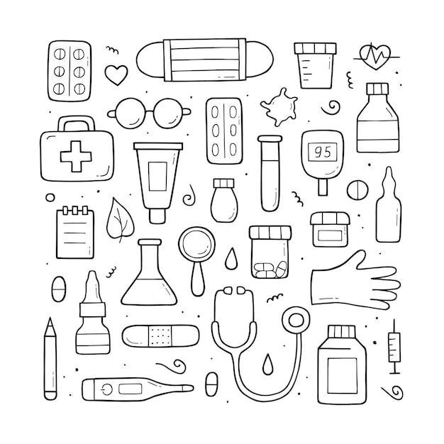 Elementos e objetos médicos. desenho do doodle. desenhado à mão
