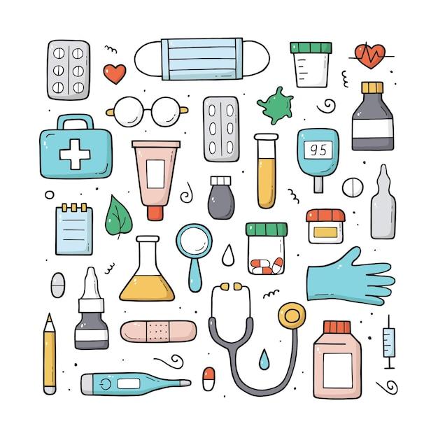 Elementos e objetos médicos em cores. desenho do doodle. desenhado à mão