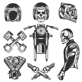 Elementos e peças vintage para motocicletas personalizadas