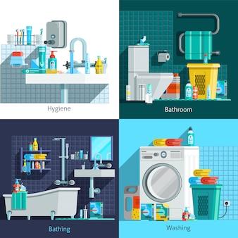 Elementos e personagens de higiene ortogonal