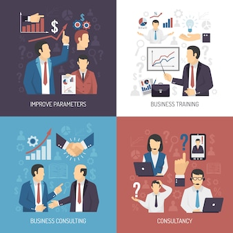 Elementos e personagens do business training concept