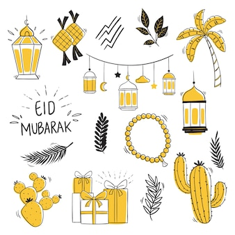Elementos eid mubarak com estilo doodle