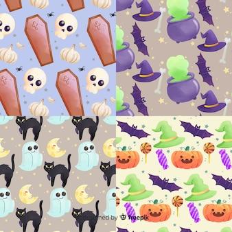 Elementos em aquarela coleção de padrão de halloween