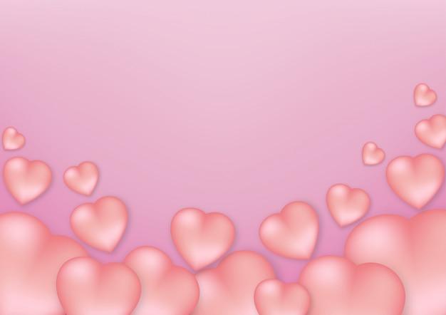 Elementos em forma de coração em um fundo rosa