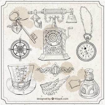 Elementos esboços no estilo steampunk