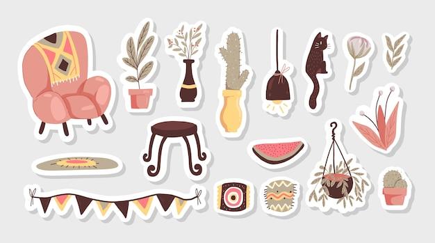 Elementos escandinavos de desenho animado de decoração interna com plantas de adesivos e decoração