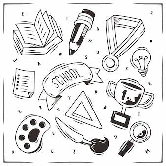 Elementos escolares desenhados à mão doodle