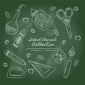 Elementos escolares desenhados à mão no estilo quadro-negro