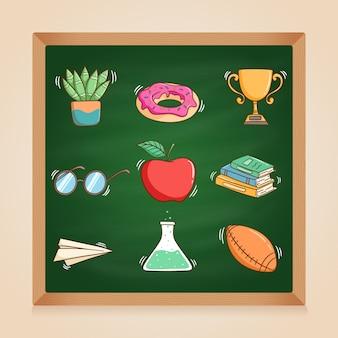 Elementos escolares fofos com estilo doodle colorido