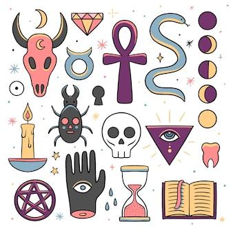 Elementos esotéricos criaturas místicas