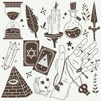 Elementos esotéricos em tons sépia