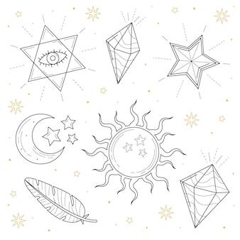 Elementos esotéricos mão estilo desenhado