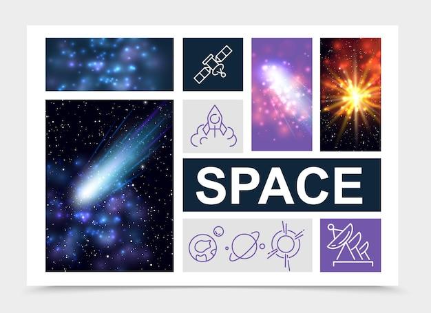 Elementos espaciais realistas com estrelas, nebulosa, cometas, luz solar, foguete, satélite, planetas, ícones, isolados