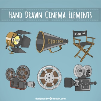 Elementos essenciais desenhados mão de um diretor de cinema