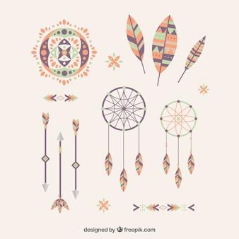 Elementos étnicos decorativas em design plano
