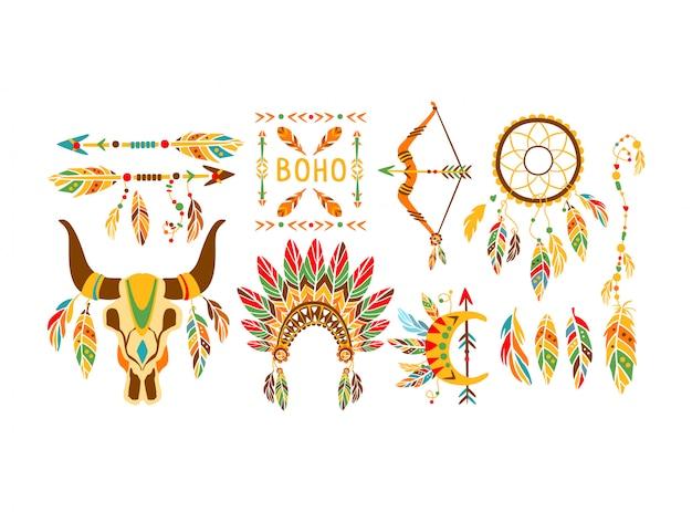 Elementos étnicos do índio americano coleção de design de estilo boho