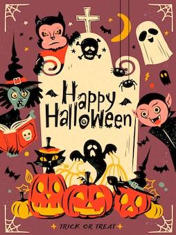 Elementos felizes de halloween isolados em roxo