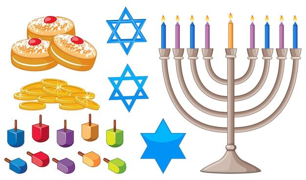 Elementos felizes de hanukkah com símbolos judaicos