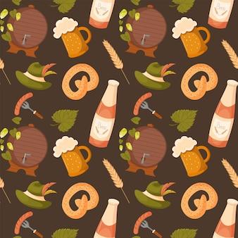 Elementos festivos da oktoberfest sem costura de fundo vector textura de repetição