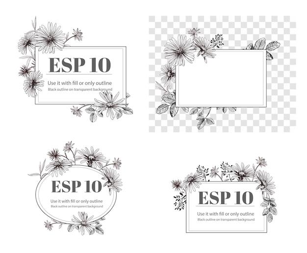 Elementos florais de mão desenhada. conjunto de flores. ilustração do vetor de margarida. contorno preto