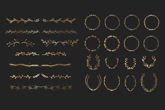 Elementos florais de ouro