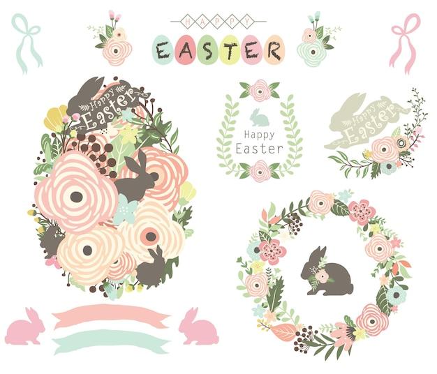 Elementos florais de ovo de páscoa