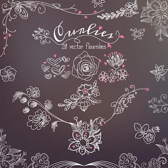 Elementos florais desenhados em um quadro-negro