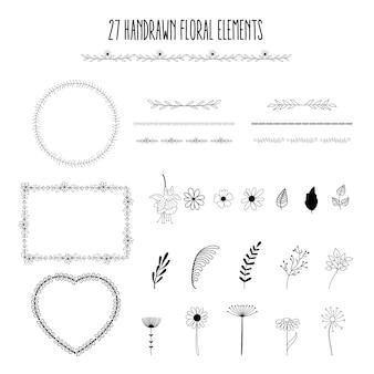 Elementos florais desenhados