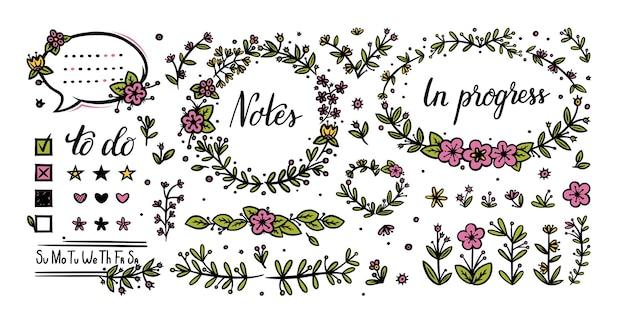Elementos florais do diário com marcadores para decoração divisórias de flores e caligrafia manuscrita