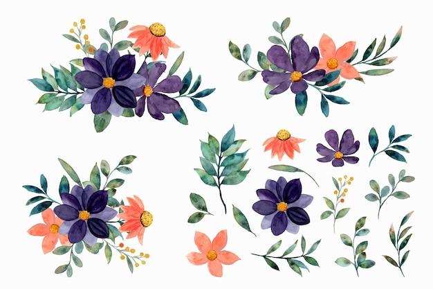 Elementos florais em aquarela e coleção de arranjos