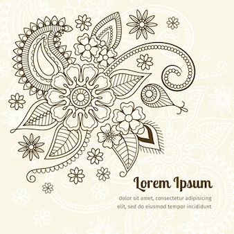 Elementos florais em estilo indiano mehndi