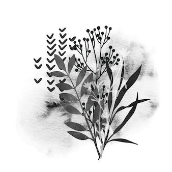 Elementos florais selvagens e mancha de aquarela