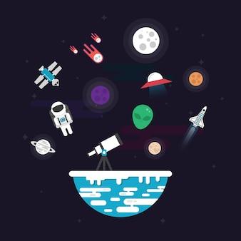 Elementos flutuando no espaço