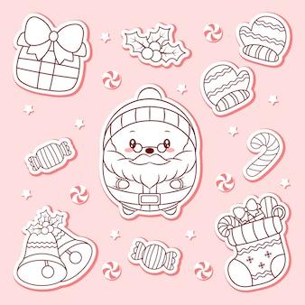 Elementos fofos de feliz natal desenhando adesivos