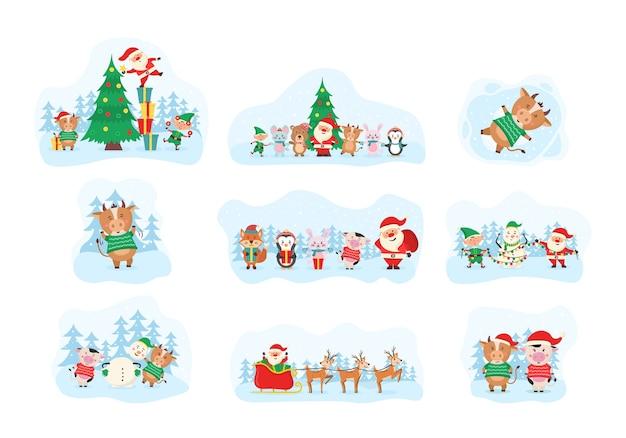Elementos fofos de natal, papai noel, boneco de neve