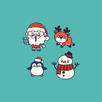 Elementos fofos de natal papai noel, pinguim, veado e boneco de neve