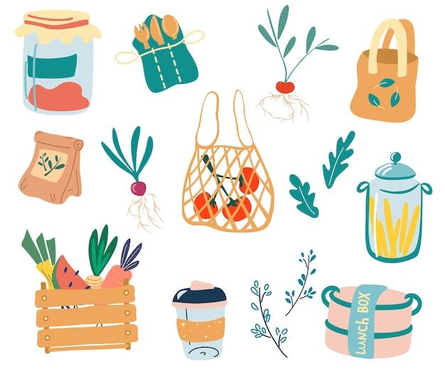 Elementos fofos de zero resíduos cozinha zero resíduos conjunto de produtos reutilizáveis de doodle