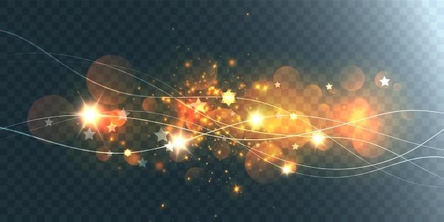Elementos futuristas de ondas, raios e reflexos de lente.