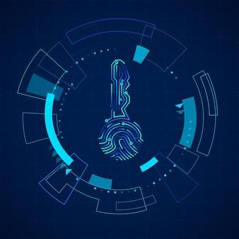 Elementos futuristas do hud. painel com tela de toque futurista de ficção científica. holograma da impressão digital da chave do circuito. ilustração vetorial