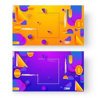 Elementos geométricos abstratos decorados no fundo na opção de duas cores.
