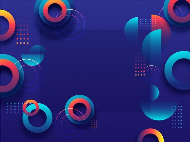 Elementos geométricos abstratos decorados sobre fundo azul, com espaço para sua mensagem.