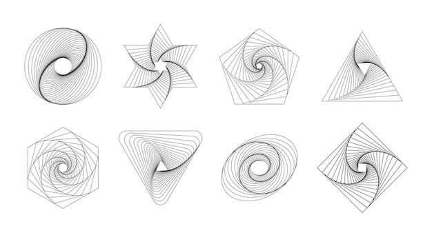 Elementos geométricos abstratos linhas fluidas de formas dinâmicas universais