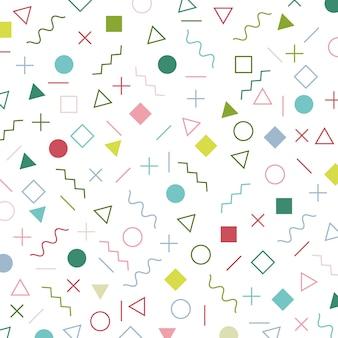 Elementos geométricos coloridos memphis estilo padrão